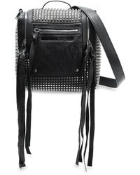 McQ Loveless Mini Convertible Studded Leather Backpack Black