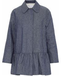 RED Valentino - Fluted Cotton-chambray Jacket Mid Denim - Lyst