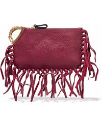 Valentino - Fringed Leather Clutch - Lyst