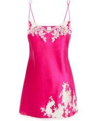 Carine Gilson Nachthemd Aus Seidensatin Mit Besatz Aus Chantilly-spitze - Pink