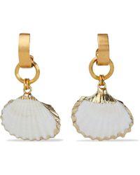Elizabeth Cole 24-karat Gold-plated Faux Shell Earrings - White