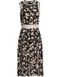 Michael Kors - Layered Lace-paneled Floral-print Crepe Dress - Lyst