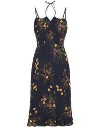Reformation Genie Kleid Aus Georgette Mit Floralem Print Und Raffung - Blau