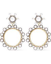Elizabeth Cole 24-karat Gold-plated, Faux Pearl And Crystal Hoop Earrings Gold - Metallic