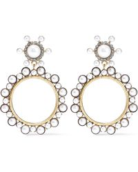Elizabeth Cole - Woman 24-karat Gold-plated, Faux Pearl And Crystal Hoop Earrings Gold - Lyst