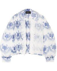 Simone Rocha Ruffled Printed Organza Bomber Jacket - White