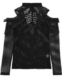 Self-Portrait Cutout Ruffled Organza-trimmed Guipure Lace Top Black