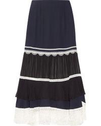 Jonathan Simkhai - Chiffon-paneled Fringe-trimmed Silk-crepe Midi Skirt - Lyst