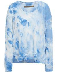 Enza Costa Tie-dyed , Silk And Cashmere-blend Sweatshirt - Blue