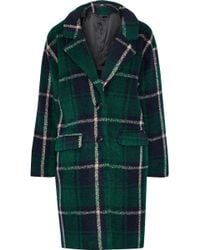 Line Seymour Checked Fleece Coat Forest Green