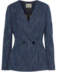 By Malene Birger - Woman Delgada Double-breasted Cotton-blend Tweed Blazer Indigo - Lyst