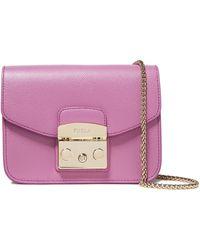 Furla Metropolis Textured-leather Shoulder Bag Lavender - Multicolor