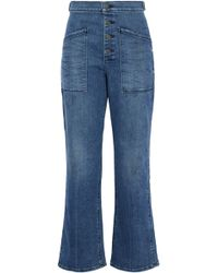 RTA - Distressed High-rise Bootcut Jeans Mid Denim - Lyst