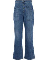 RTA - Distressed High-rise Bootcut Jeans Mid Denim - Lyst