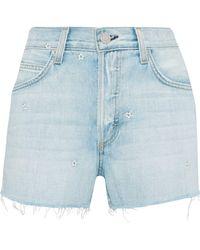 AMO - Woman Babe Embroidered Frayed Denim Shorts Light Denim - Lyst
