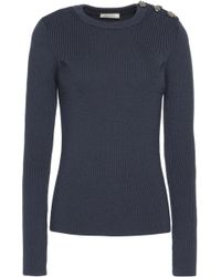 Nina Ricci - Embellished Ribbed Wool Sweater Midnight Blue - Lyst