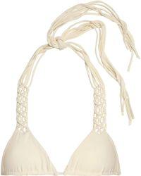 Mikoh Swimwear - Knotted Stretch-knit Triangle Bikini Top - Lyst
