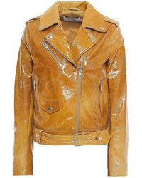 STAND Polly Cracked Patent-leather Biker Jacket - Multicolour