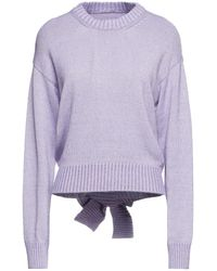 MM6 by Maison Martin Margiela Bow-detailed Knitted Jumper - Purple