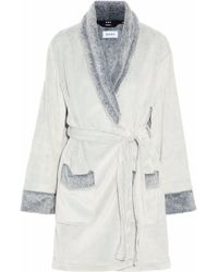 DKNY - Printed Two-tone Fleece Robe - Lyst