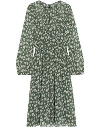 Mikael Aghal Ruffle-trimmed Floral-print Chiffon Dress Green