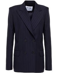 RE/DONE 70s Double-breasted Pinstriped Wool Blazer - Blue