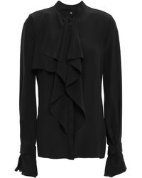 Mugler Ruffled Silk Crepe De Chine Blouse Black