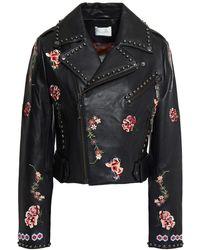 Camilla Cropped Studded Embroidered Leather Biker Jacket - Black