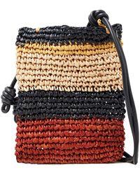 Ulla Johnson Sefina Leather-trimmed Color-block Braided Raffia Shoulder Bag - Multicolor