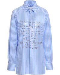 Each x Other Printed Striped Cotton-poplin Shirt Light Blue