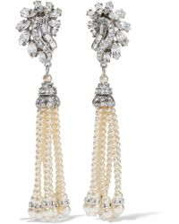 Ben-Amun - Woman Silver-tone, Faux Pearl And Crystal Earrings White - Lyst