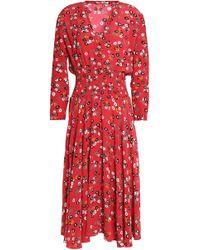 Maje - Pleated Floral-print Crepe De Chine Dress - Lyst
