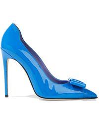 Victoria Beckham Freya Bow-embellished Patent-leather Court Shoes Cobalt Blue