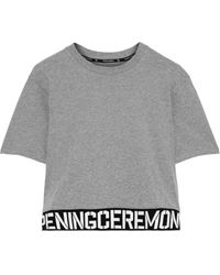 Opening Ceremony Cropped Monogram-trimmed Cotton-jersey T-shirt Gray