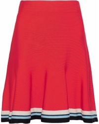 Victoria, Victoria Beckham - Fluted Striped Knitted Mini Skirt Tomato Red - Lyst