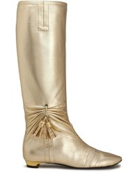 Roger Vivier - Stivale Tasselled Ruched Metallic Leather Boots - Lyst