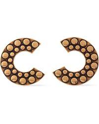 Roberto Cavalli Bold C Burnished Gold-tone Earrings Gold - Metallic