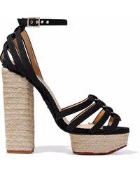 Charlotte Olympia Eyelet-embellished Canvas Espadrille Platform Sandals - Black