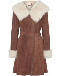 SOIA & KYO - Woman Belted Shearling Coat Brown - Lyst