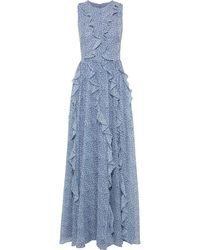 Mikael Aghal Ruffled Floral-print Chiffon Gown Blue