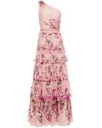 Marchesa notte One-shoulder Embellished Tiered Tulle Gown Antique Rose - Pink