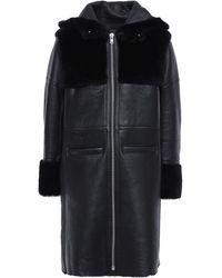 Maje Shearling Hooded Coat Black