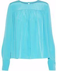 Diane von Furstenberg - Gathered Washed-silk Blouse Turquoise - Lyst
