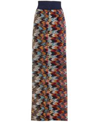 Missoni Metallic Crochet-knit Maxi Skirt Navy - Blue