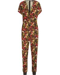 Just Cavalli - Printed Stretch-crepe Jumpsuit Army Green - Lyst