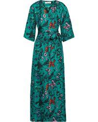 Diane von Furstenberg Caris Belted Printed Silk-twill Maxi Dress Emerald - Green
