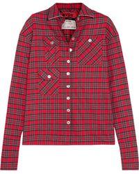 Ronald Van Der Kemp - Woman Checked Cotton-flannel Shirt Red - Lyst