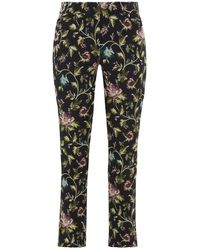 Erdem Sidney Cropped Cotton-blend Jacquard Slim-leg Trousers - Black