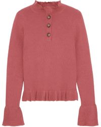 See By Chloé See By Chloé Ruffle-trimmed Ribbed Cotton-blend Sweater Antique Rose