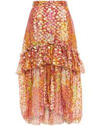 Dundas Tiered Metallic Fil Coupé Printed Silk-blend Midi Skirt Light Brown